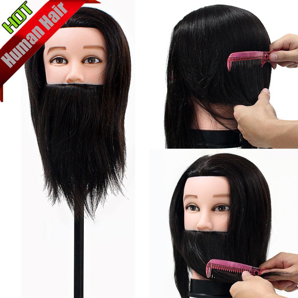 100% vrais cheveux hommes coiffure formation tête coupe pratique Salon cheveux humains homme Mannequin perruque tête modèle avec pince