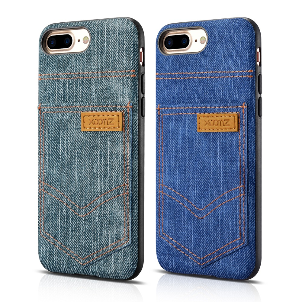 2016 New For iphone7 4.7 Jeans Pocket PU Back Cover fashion leather Phone Case For iphone 7 original icarer xoomz brand