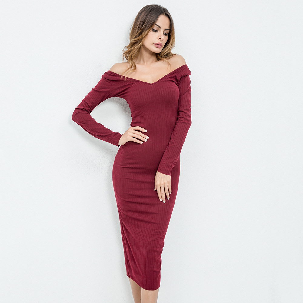 d36d871acc8 Spring Knitted Long Dress Off Shoulder Long Sleeve Strapless Bodycon  Sweater Dress Ribbed Sexy Plus Size Women Dresses A120113-in Dresses from  Women s ...