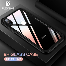 FLOVEME Tempered Glass Case For iPhone 7 XR XS Max 6S 6 6s 8 Plus X Protective Phone Cover Coque Capinhas