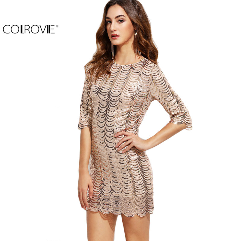 COLROVIE Sexy Dress Club Wear Short Dress Women Half Sleeve Mini Dress Famous Brand Gold Scallop Sequin Bodycon Dress