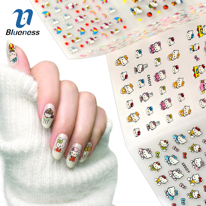 24 Sheet Hello Kitty Design Decals Cat Model Stamping Stickers For Nails Diy Beauty Bronzing 3D Nail Art Tips Sticker 30 pcs floral design manicure transfer nail art tips stickers decals 3d flowers beauty tickers for nails