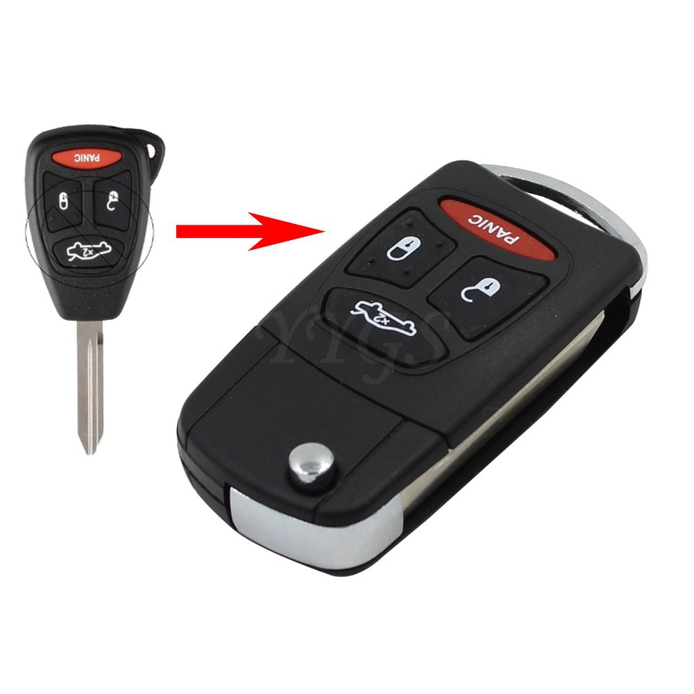 New For Dodge Jeep Commander Grand Cherokee Chrysler Aspen 300 Flip Folding Remote Key Shell Fob Case 4/3+Panic Buttons