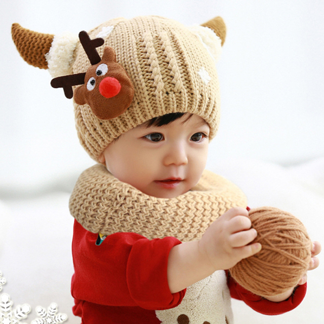 a27ca666031 6 Colors Baby Girls And Boys Knitting Wool Winter Hat + Scarf 3 D Deer  Design Kids Christmas Cap Warm Beanie
