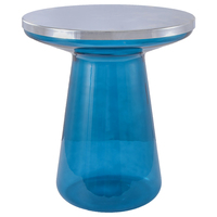 Nordic Round Tea Coffee Table Metal Top Glass Tube Leg Modern Minimalist Home Bedroom Small Sofa Side T Shape Bedside Table