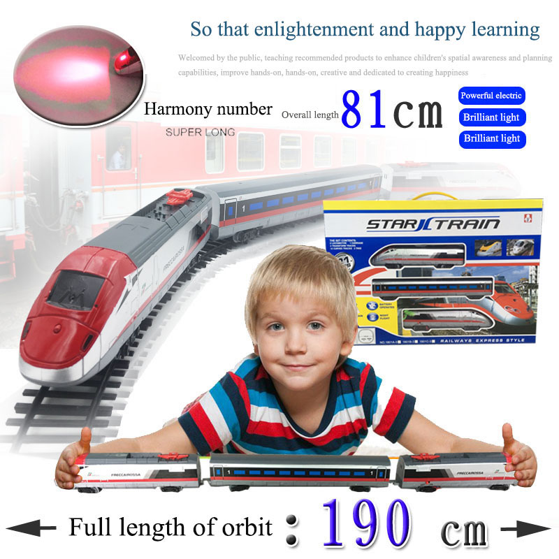 Classic toys Battery Operated Railway Rail Train Electric Toy Railway Car with Sound&Light Rail Car for Child