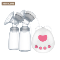 2018 RealBubee Microcomputer Intelligent Double Electric breast pumps lithium battery Breast Pump with Milk Bottle for Mothers