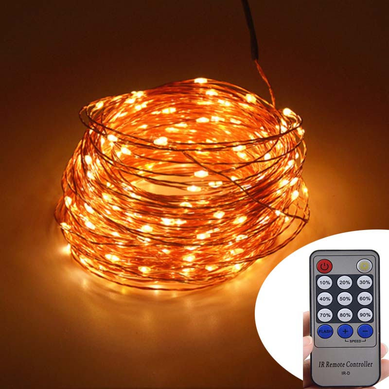 99Ft 30m 300 Leds Copper Wire LED String Lights Starry Lights Fairy lights Power Adapter Remote