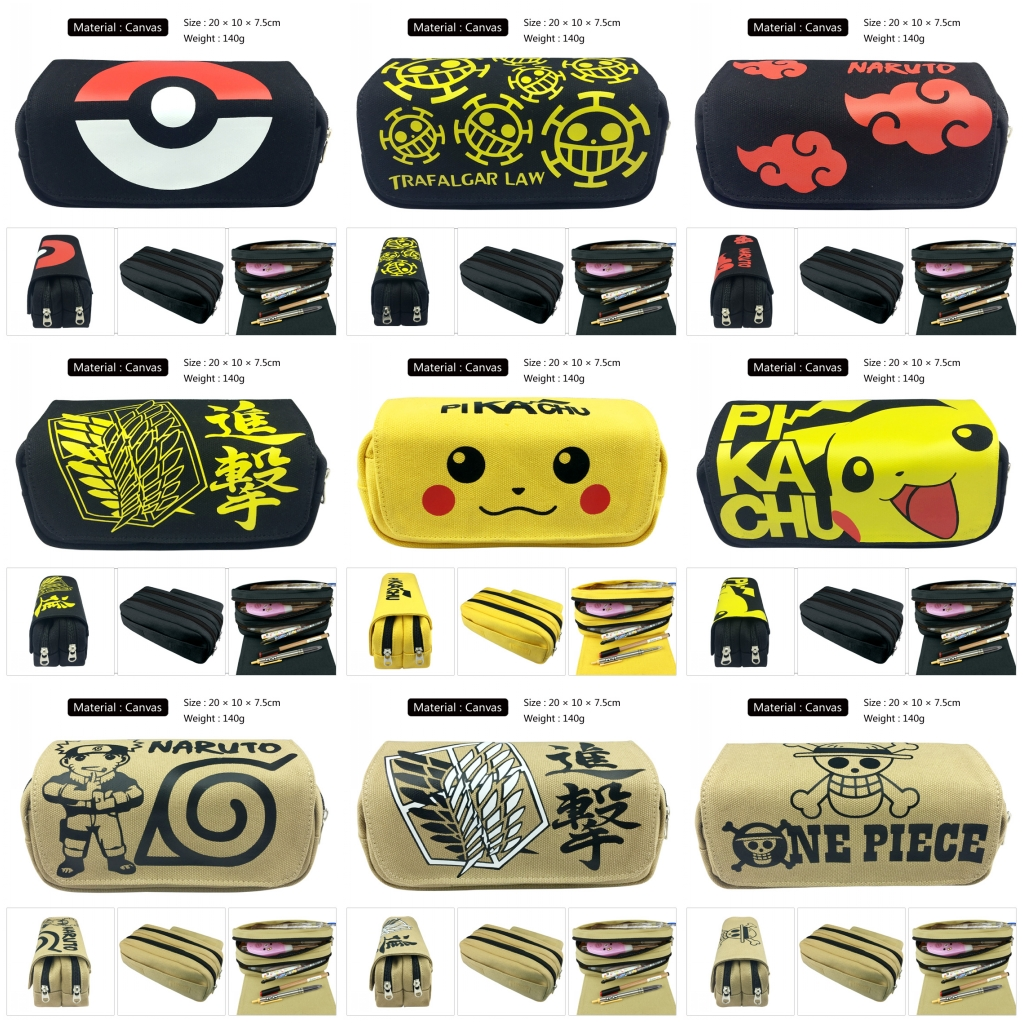 Anime Pikachu Attack On Titan Naruto One Piece Canvas Pencil Case Pen Bag Zip Makeup Bag Cosmetic Bag Stationery Bag Stationery