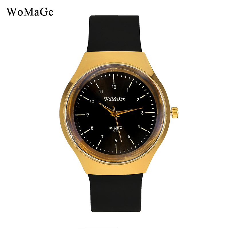 New Design Watches Womage Brand Fashion Minmalist Golden Dial Black Silicone Strap Sports Analog Quartz Men Watch reloj hombre chic womage a380 cross shaped black dial round golden case leather wrist watch for men black