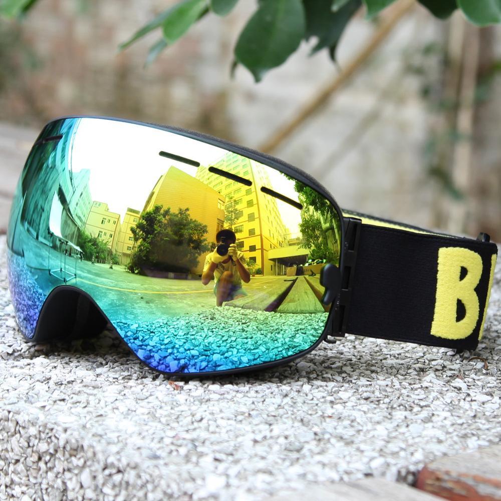 Prix pour Professionnel snowboard anti-brouillard ski lunettes double lentille UV400 grand lunettes de ski hommes femmes motoneige lunettes