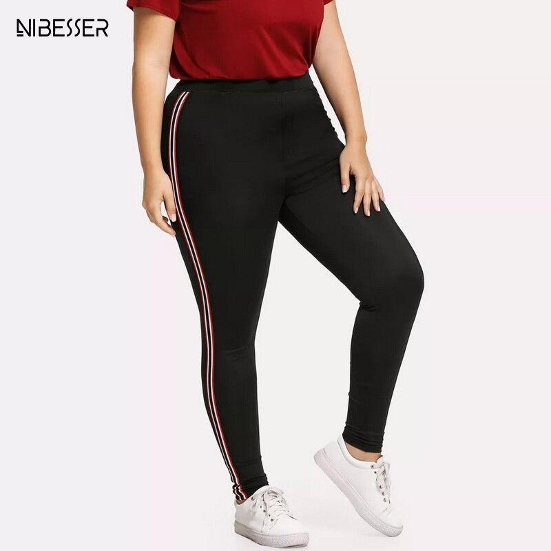 NIBESSER 2019 Women   Leggings   Side Striped Fitness Big Size   Legging   Sport Workout Jogging Elastic Slim Pants Plus Size 4XL 5XL