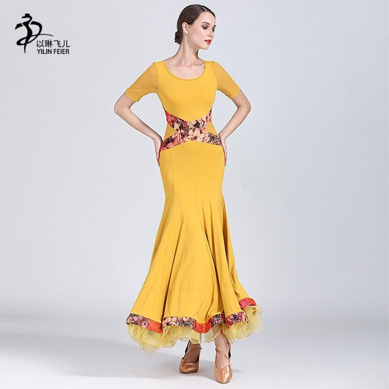 Red/Black Modern Dance Skirt Lady's Simple Practice Long Dresses Stage Long Sleeve Women's Flamenco Ballroom Dancing Dresses