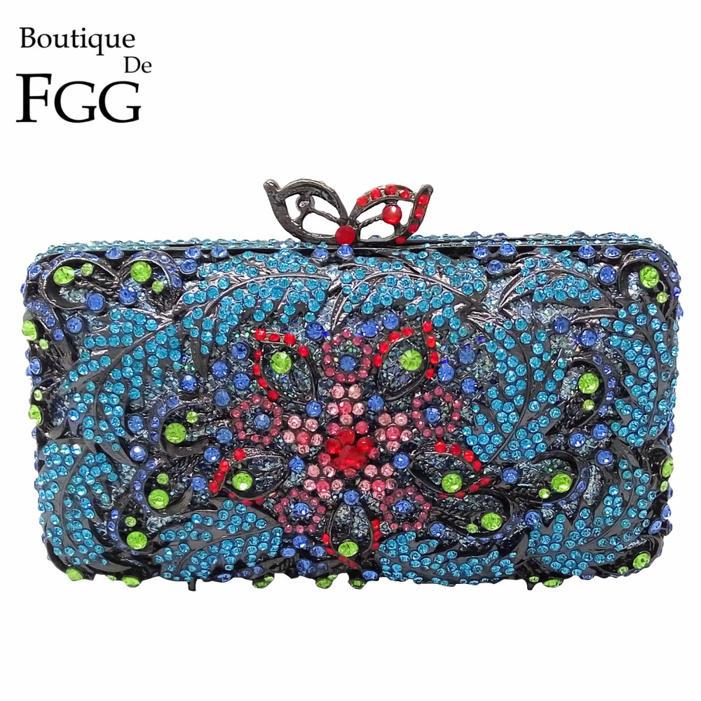 Gunmetal Plated Turquoise Blue Women Crystal Evening Wedding Party Clutch Bag Metal Minaudiere Handbag Chain Shoulder Bag Purse philip stein fruitz crystal turquoise f36s mopcr tq