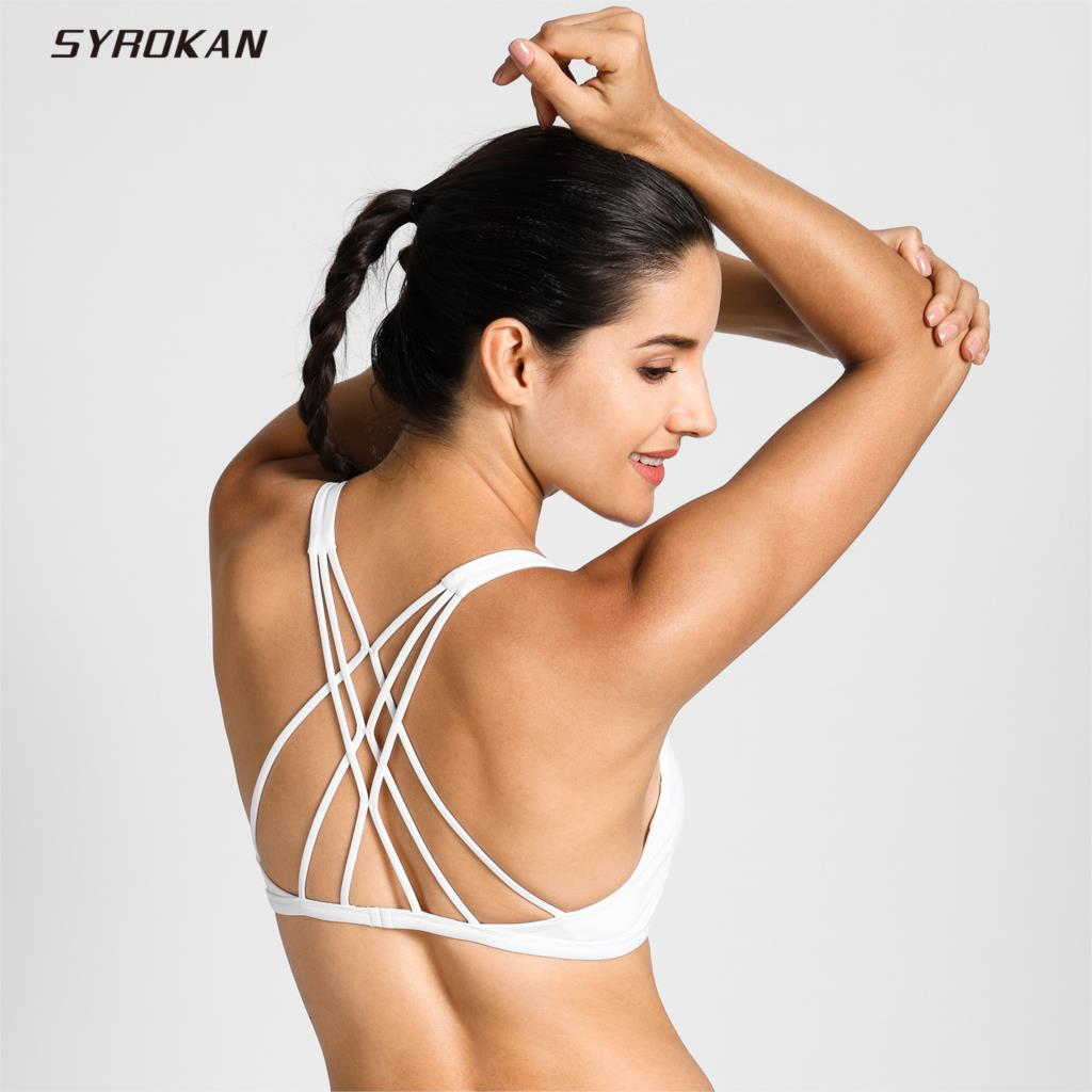 SYROKAN Women's Removable Pads Yoga Top Cross Strappy Back Sports Bra