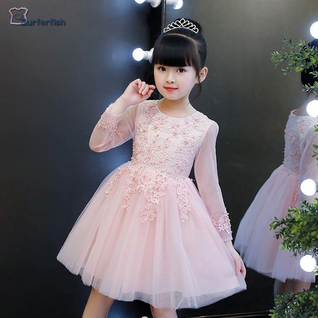 Surferfish girls Children Dress Long sleeve Party Holiday Wedding Wear  Formal Dress Tulle Princess Valentine s Party Dress 4-12T 70450e8e059e