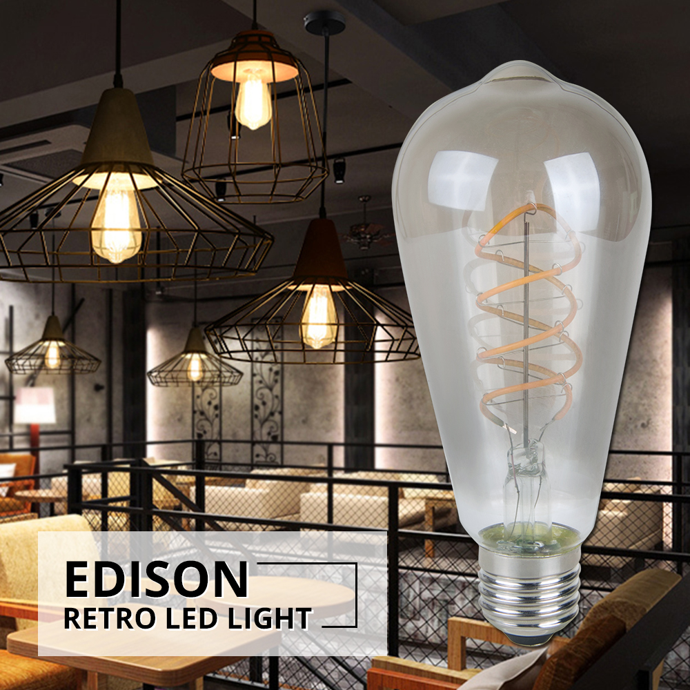 foxanon led retro edison light bulb e27 220v st64 3w. Black Bedroom Furniture Sets. Home Design Ideas
