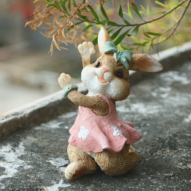 Everyday Collection cute Easter rabbit Desk decoration fairy garden bunny animal figurine home decor Valentine's Day gift 3