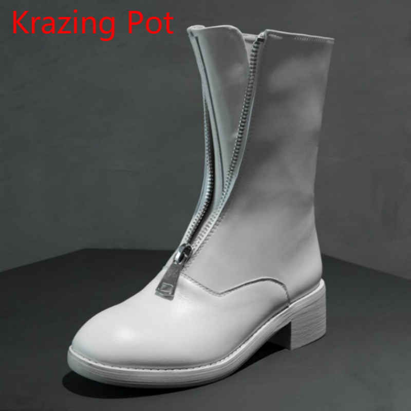 2018 Runway Fashion Boots Genuine Leather Round Toe Classic Retro Thick Heel Zipper Women Chelsea Boots Party Mid-calf Boots L1c spring black coffee genuine leather boots women sexy shoes western round toe zipper mid calf soft heel 3cm solid size 36 39 38
