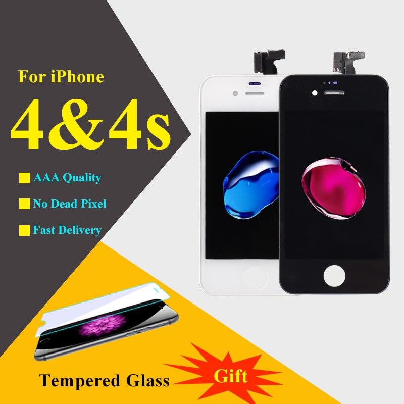 imágenes para 10 unids AAA Pantalla LCD de Pantalla Para el iphone 4 4S Teléfono de Pantalla táctil Digitalizador Asamblea LCD de Piezas de Repuesto de Teléfono Móvil LCD