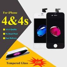 Для iphone 4s жк-дисплей с сенсорным экраном дигитайзер ассамблеи запасные телефон части жк-дисплеи мобильных телефонов/черный белый