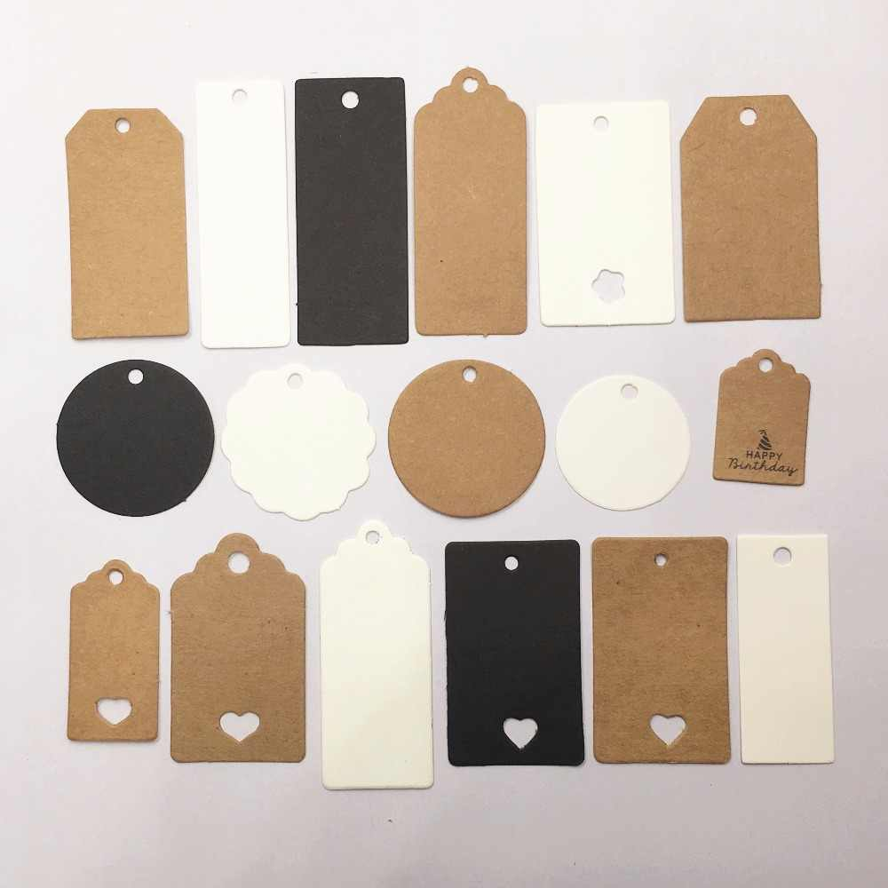 100 pcs Kraft Paper Multi-style Hang Tags Wedding/Birthday party decoration tag/small gift price tag/jewelry  price tag