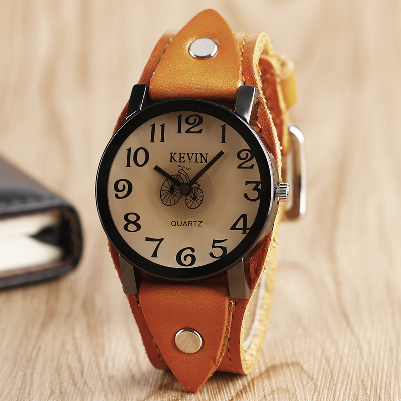 цены KEVIN Classic Brown Leather Band Strap Creative Bicycle Dial Wristwatch Stylish Punk Fashion Quartz Men Women Watches