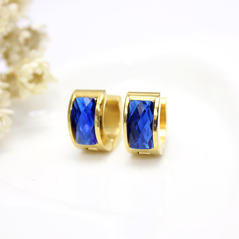 Trendy Style Women Beautiful Resin Blue Hoop Earrings Gold Color Stainless Steel Ear Jewelry Gift gor Girls