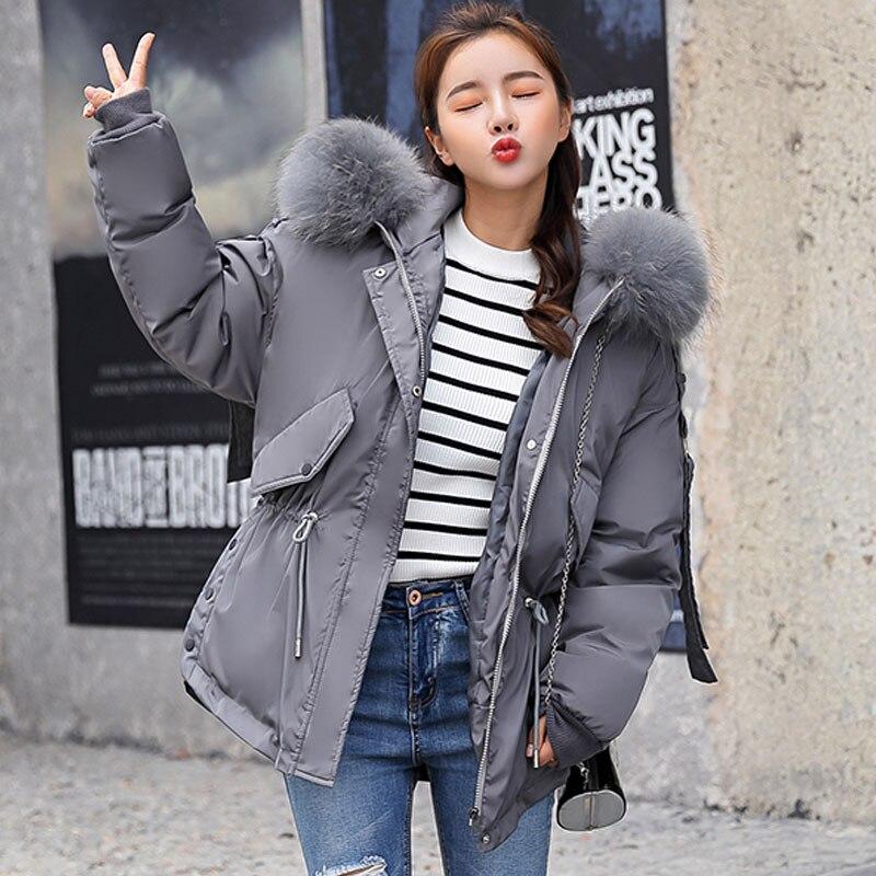 snow wear 2018 fashion large fur collar short down jacket women thickening warm winter coat women plus size loose outwear female 1