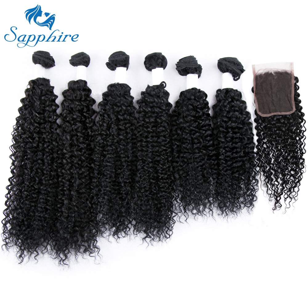 Sapphire Remy Hair 30g Pcs Brazilian Kinky Curly With 4 4 Closure 6 Bundles 100 Human