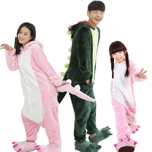 728666d52c Flannel Women Children Pajamas Cartoon Animal Adult Onesie Family Matching  Outfits Mother Daughter Clothes Dinosaur Pajamas Set
