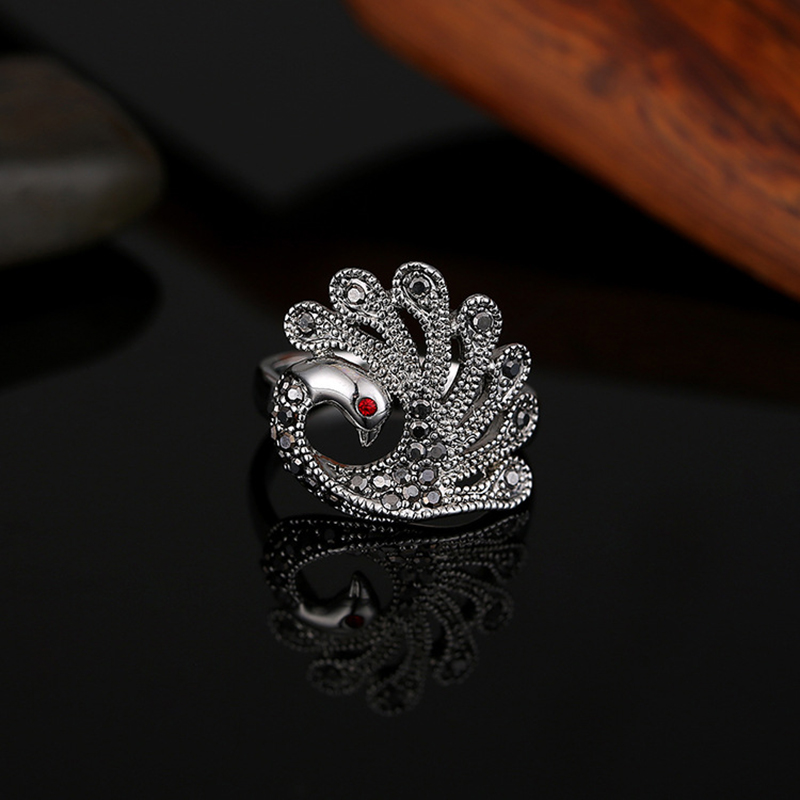 Zircon rings for women antique silver color zinc alloy engagement wedding party female ring vintage fashion jewelry 2017