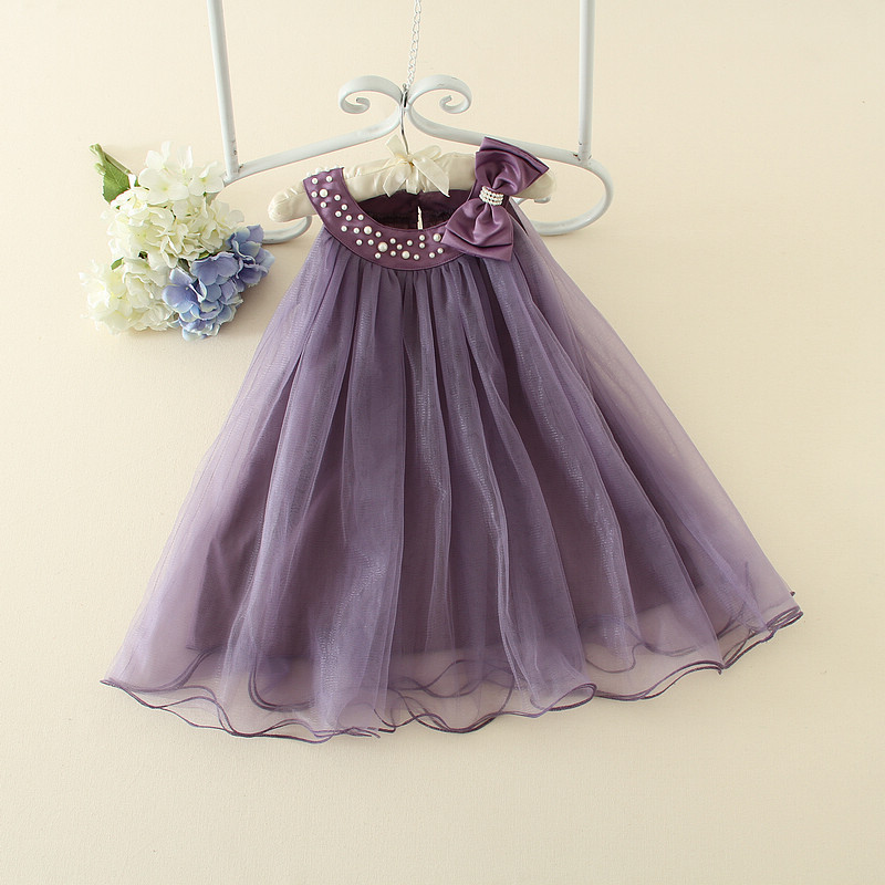 Party Formal Girls Dresses Children Purple Flower Girl Vestidos 2017 Fashion Kids Clothes For 4 6 8 10 12 Years AKF164099 girls champagne short front long back flower girl dress for wedding trailing formal party vestidos girls clothes 2017 skf154024