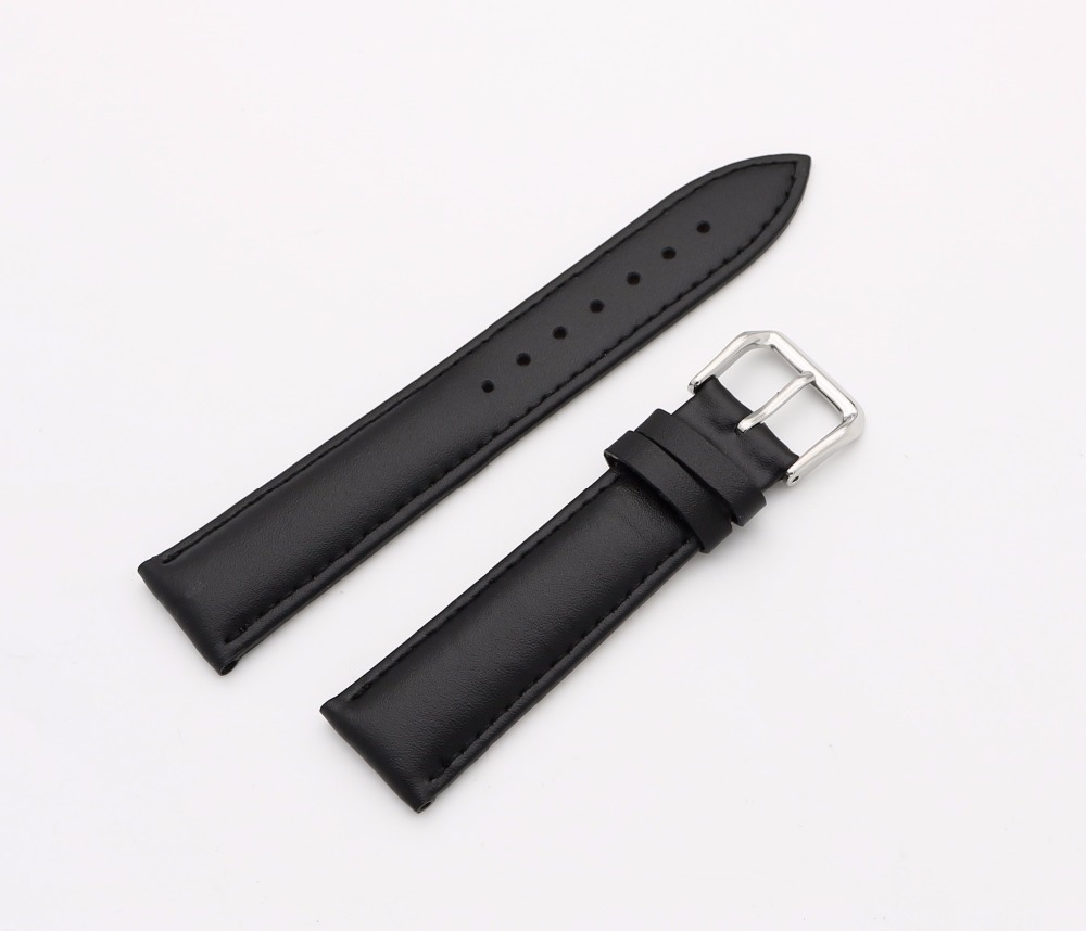 14 16 18 20 22 24mm Men Lady Genuine Cowhide Leather Black Classic Smooth Wrist Watch Band Strap Belt Silver Polished Pin Buckle