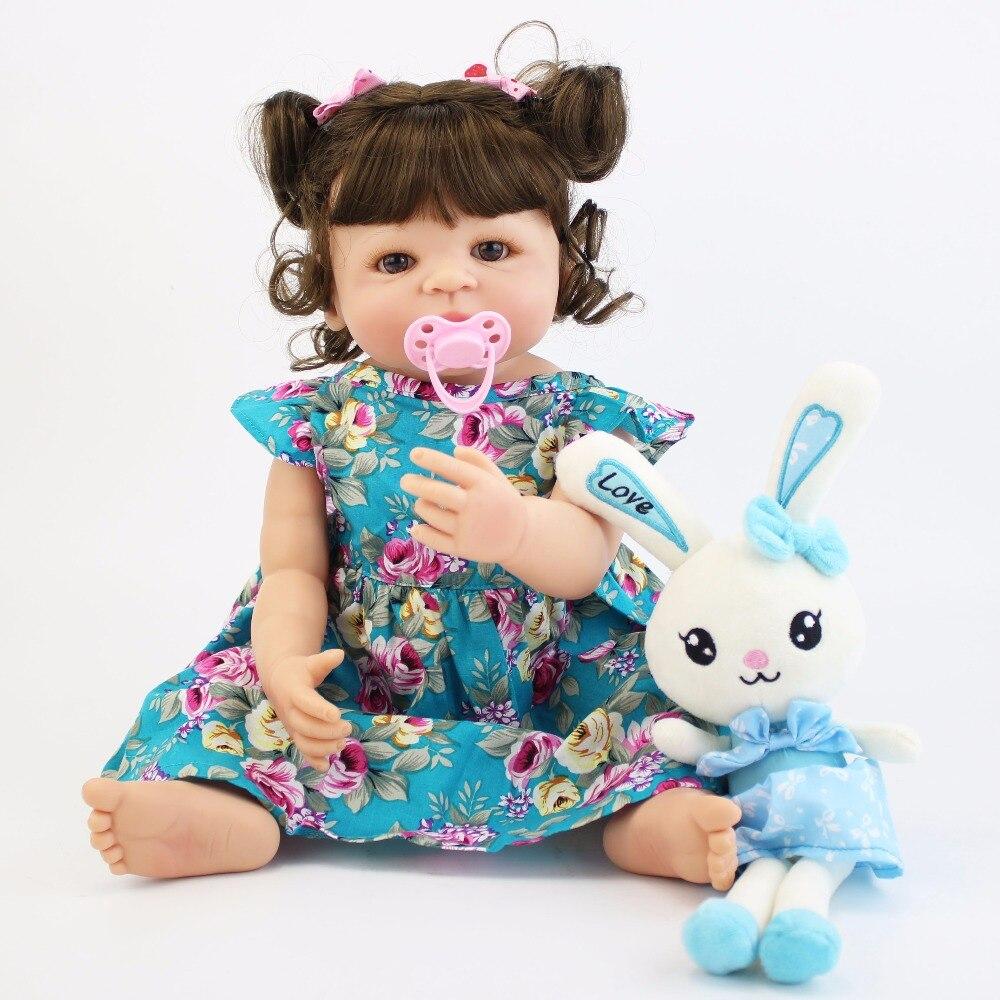 55cm Silicone corps Reborn bébé poupée jouet pour fille vinyle nouveau-né princesse bébés vivants Bebe Boneca bain jouet cadeau d'anniversaire