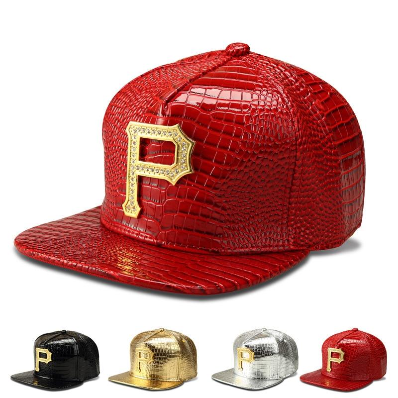 Prix pour 2017 Haute Qualité Étoile Porter Marque Argent D'or P Lettre Métal nouveau Hommes PU Hip Hop Chapeau Casquettes de Baseball Casual Snapback 4 couleurs