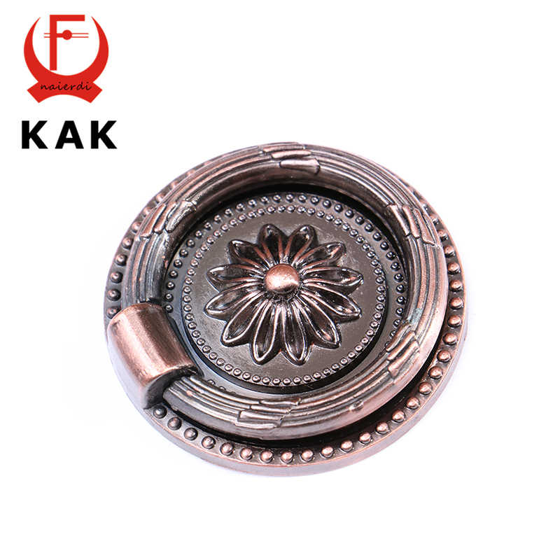 KAK-RB1013 Big Retro Red Bronze Kitchen Cabinet Knobs Door Cupboard Zinc Alloy Handles Wardrobe Furniture Handle Drawer Pulls