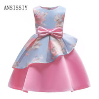 Summer Girls Kids Print Dress Floral Bow Pattern Sleeveless Irregular Tutu Dresses 3 To 8 Years