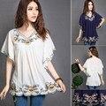 Nova Moda Verão 2016 Elegante Bordado Floral Das Mulheres Do Vintage Blusa Camisas Casuais Com Decote Em V Soltas Topos Batwing Blusas de Manga