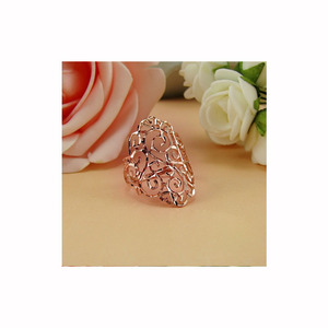 Image 2 - 18k Rose Gold Ring 2020 New Women Fine Jewelry Hollowed out Light Luxury Style Party Club Gift Female Ring  Trendydrop shipping