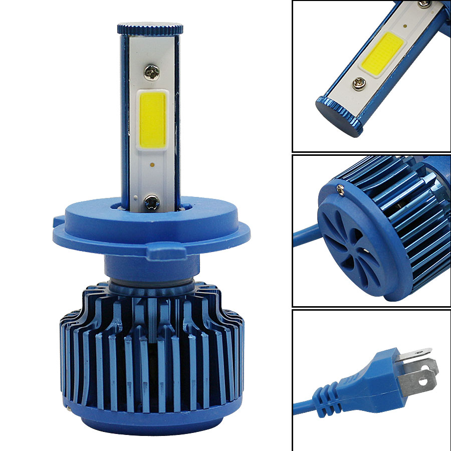 LED Healights H4 Headlamp Bulbs Hi/Lo Beam DRL Fog Automobile Conversion Kits Lamp 60W 6000LM 6000K White