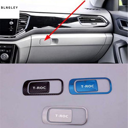 2pcs/lot Car stickers Stainless steel Passenger side glove box switch decoration cover for 2018 2019 Volkswagen VW T-ROC