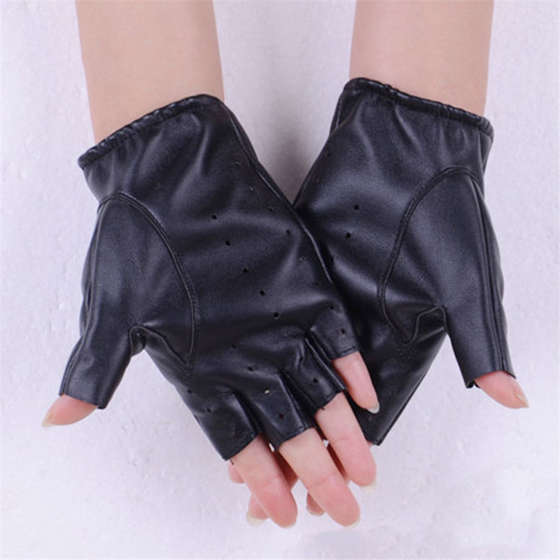 Fashion Women Half Finger Leather Gloves PU Fingerless Gloves Black Adult Autumn Driving Lady Gloves Hole Breathable Solid G027