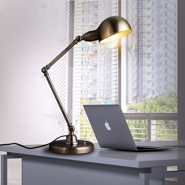 The Nordic modern minimalist style iron lamp reading office desk folding arm lamp Free shipping