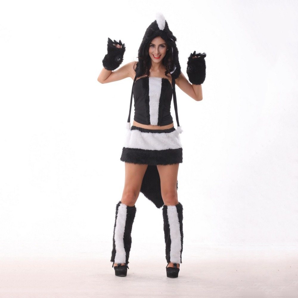VASHEJIANG Adult Faux Fur Furry Costumes Sexy Animal Skunk Cosplay Adult Halloween Costumes for Women Fancy Party Dress Outfits