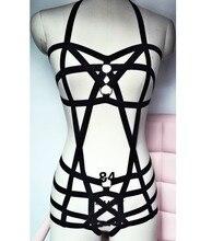 2017 new pastel goth female bust  garter belt gothic bust bondage suit  Rave wear bondage sexy women lingerie set  black retail