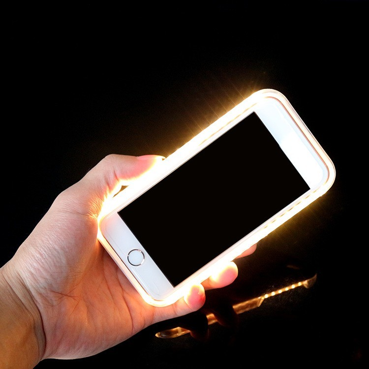 imágenes para Iluminar tercera Generación Brillante Cubierta de la Caja Del Teléfono para el iphone 6 6 S 7 Plus Autofoto Luminoso Carcasas para iPhone 6 6 SPlus 7 Plus Cubre