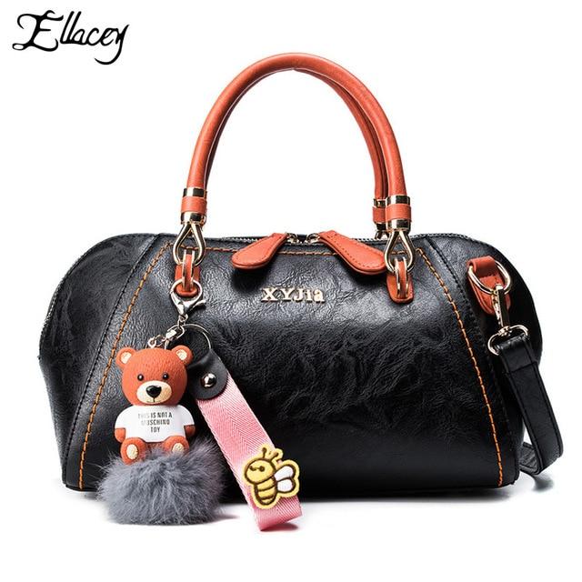 d27f999e5d6a 2017 Women Handbag With Tassel Fashion Tote Bag Portable Leather Shoulder  Bag Simple Shell Bag Vintage Pendant Handbag Bolass