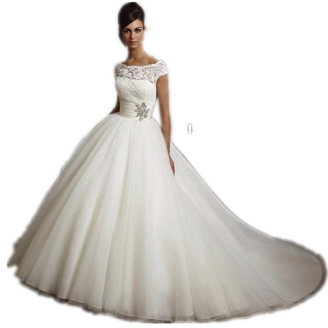 Vestido De Noiva Sexy Design Cap Sleeves Bridal Gown Beaded Perfect Marry  Lace Robe De Mariage Royal Wedding Dress 2017 OV9992 e9cc8d2ac6f2