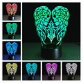 3D Lamp Angel wings Children's nightlight Visual Led Night Lights Illusion Lamparas With controller and without controller